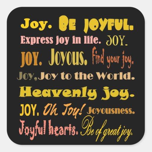 Collage de la palabra de la alegría del pegatina