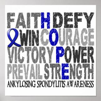 Collage de la palabra de la esperanza Ankylosing S Póster