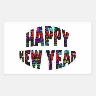 Collage de la palabra de la Feliz Año Nuevo 2012 Pegatina Rectangular