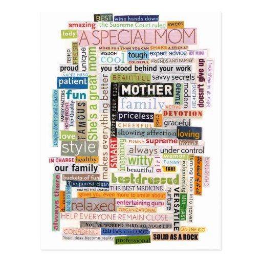Collage de la palabra de la mamá postales
