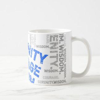 Collage de la palabra de la sabiduría del valor de tazas