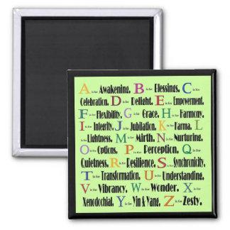 collage de la palabra del alfabeto imán cuadrado