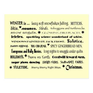 collage de la palabra del invierno postal