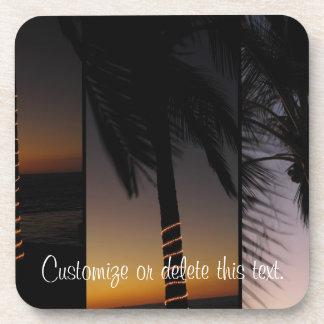 Collage de la palmera; Personalizable Posavasos De Bebidas