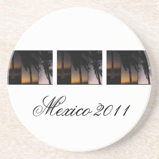Collage de la palmera; Recuerdo de México Posavaso Para Bebida