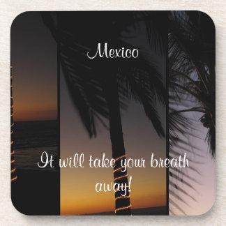 Collage de la palmera; Recuerdo de México Posavasos De Bebida