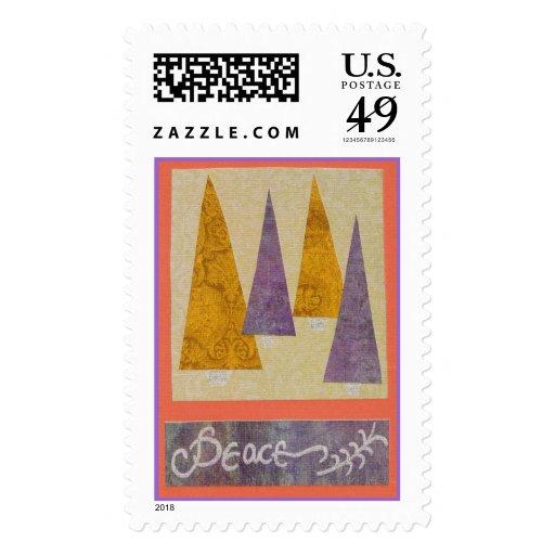 Collage de la paz de árboles timbre postal