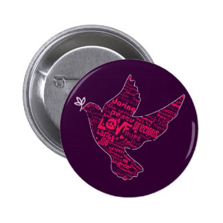 Collage de la paz de la paloma pin redondo de 2 pulgadas