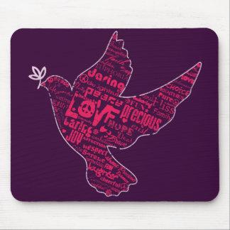 Collage de la paz de la paloma alfombrillas de ratón