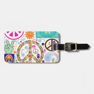 Collage de la paz etiquetas para maletas