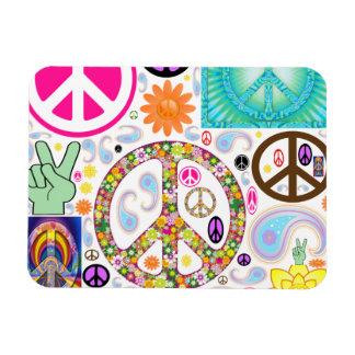 Collage de la paz imán foto rectangular