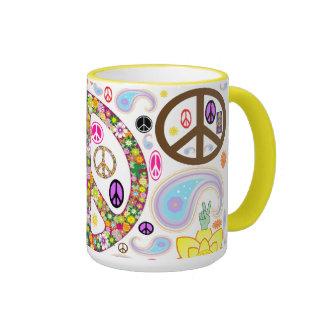 Collage de la paz taza de café
