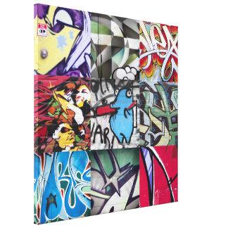 Collage de la pintada (arte de la calle) impresión en lona estirada