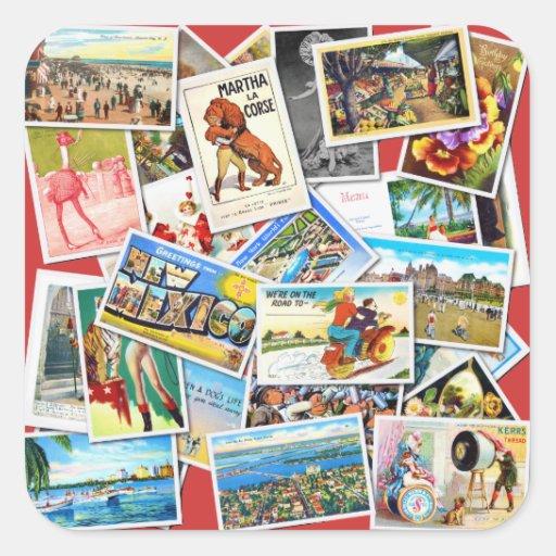 Collage de la postal del vintage pegatina cuadrada