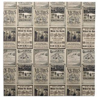 Collage de la publicidad de la bicicleta del servilletas de papel