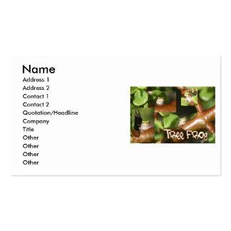 Collage de la rana arbórea, mismas diversas actitu tarjeta de visita
