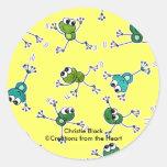 Collage de la rana pegatinas redondas