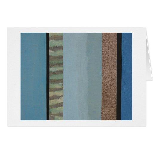 Collage de la raya de muchos azules tarjeta