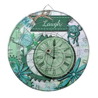 Collage de la risa, cara de reloj del vintage y