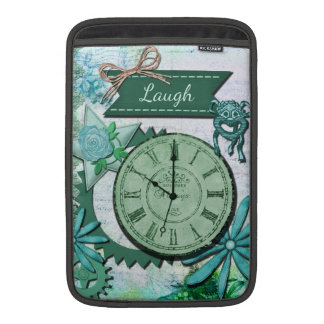 Collage de la risa, cara de reloj del vintage y en fundas para macbook air