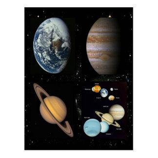 Collage de la Sistema Solar de los planetas Tarjeta Postal