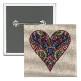 Collage de la tapicería del corazón de la tela