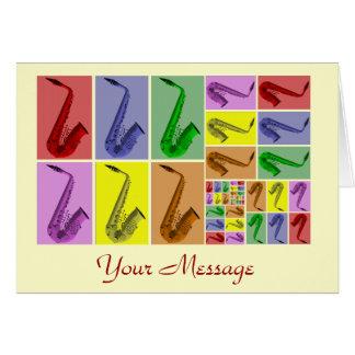 Collage de la tarjeta de modelo de los saxofones
