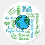 Collage de la tierra etiquetas redondas