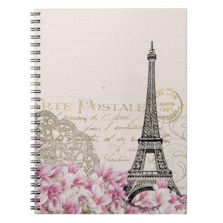Collage de la torre Eiffel del vintage con los Cuadernos