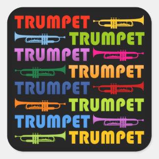 Collage de la trompeta pegatina cuadrada