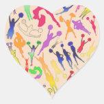 Collage de las animadoras calcomanía de corazón