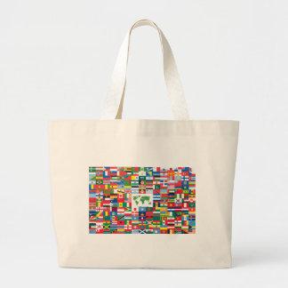 Collage de las banderas de país de todas partes de bolsa lienzo