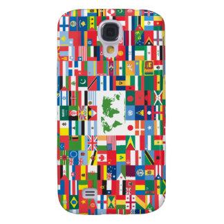 Collage de las banderas de país de todas partes de