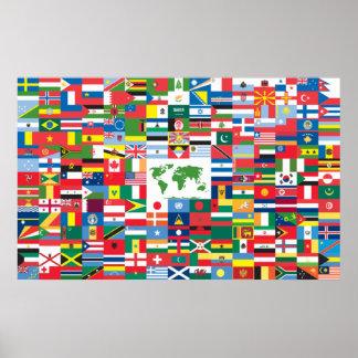 Collage de las banderas de país de todas partes de poster