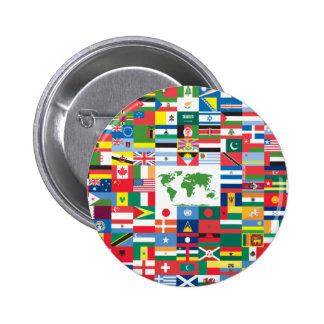Collage de las banderas de país de todas partes de pin redondo 5 cm