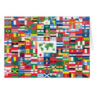 Collage de las banderas de país de todas partes de tarjetón