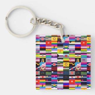 Collage de las banderas del orgullo llavero cuadrado acrílico a doble cara