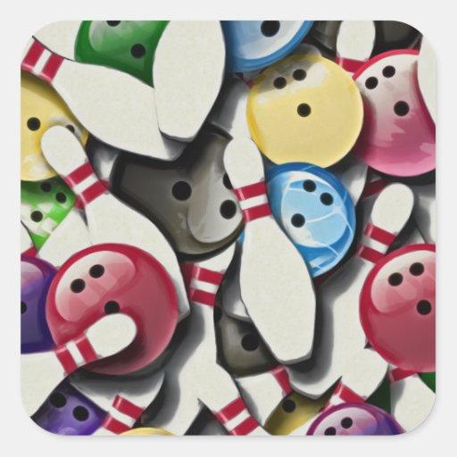 Collage de las bolas y de los pernos de bolos calcomania cuadradas personalizada