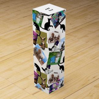 Collage de las fotografías del gato caja para botella de vino