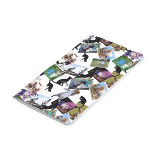 Collage de las fotografías del gato cuaderno grapado