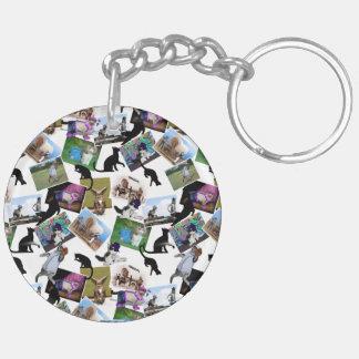 Collage de las fotografías del gato llavero redondo acrílico a doble cara