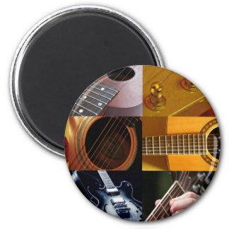 Collage de las fotos de la guitarra imán redondo 5 cm