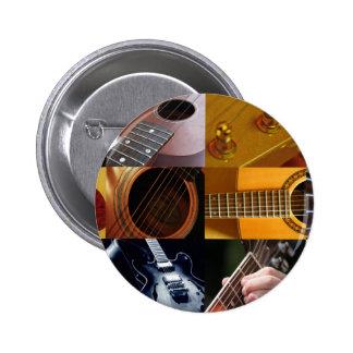 Collage de las fotos de la guitarra pin redondo de 2 pulgadas