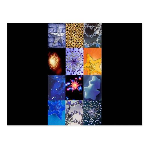 Collage de las fotos de las estrellas del azul y d tarjetas postales
