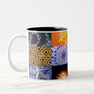 Collage de las fotos de las estrellas del azul y d taza de café