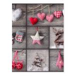 Collage de las fotos del navidad sobre la madera postal