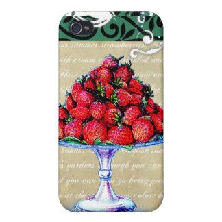 Collage de las fresas del vintage iPhone 4 fundas