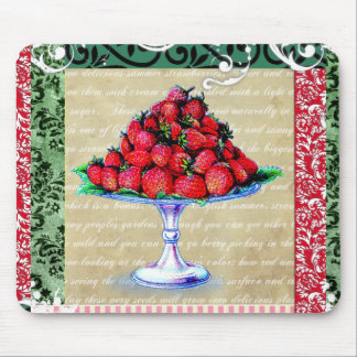 Collage de las fresas del vintage tapete de raton