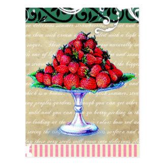 Collage de las fresas del vintage postal