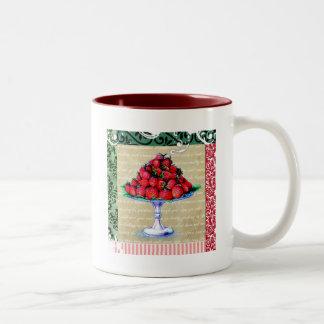 Collage de las fresas del vintage tazas de café